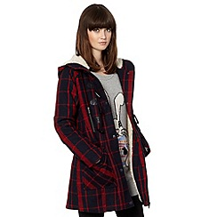 H! by Henry Holland - Blue and red checked duffle coat