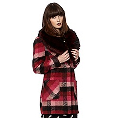 H! by Henry Holland - Checked faux-fur collar coat