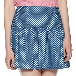 H! by Henry Holland - Designer blue denim polka dot skirt