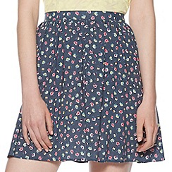 H! by Henry Holland - Designer dark teal floral skater skirt
