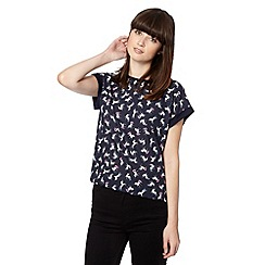 H! by Henry Holland - Designer navy unicorn woven front top