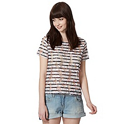 H! by Henry Holland - Designer white striped lace t-shirt