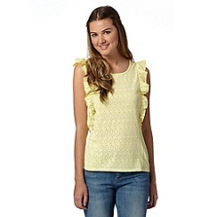 H! by Henry Holland - Designer yellow ruffle burnout vest