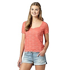 H! by Henry Holland - Designer peach lace sweetheart neck top