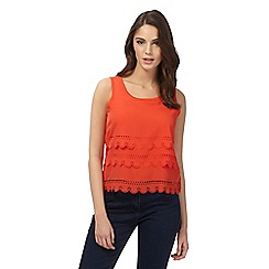 H! by Henry Holland - Orange scalloped laser cut top