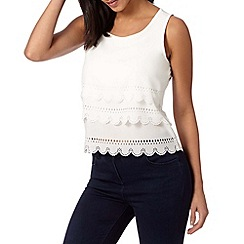 H! by Henry Holland - Designer ivory laser cut scalloped top