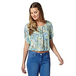 H! by Henry Holland - Designer green ditsy floral gypsy top