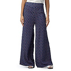 H! by Henry Holland - Designer navy floral palazzo trousers