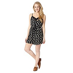 H! by Henry Holland - Designer black lemon spot playsuit