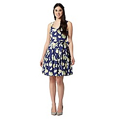 H! by Henry Holland - Designer navy lemon and lime print prom dress