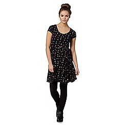 H! by Henry Holland - Designer black ditsy spot belted dress