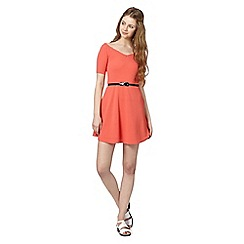 H! by Henry Holland - Designer peach textured bardot skater dress