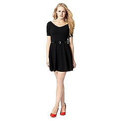 H! by Henry Holland - Designer black textured bardot skater dress
