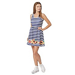 H! by Henry Holland - Designer blue striped scuba floral border dress