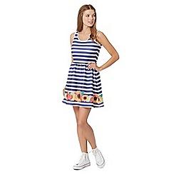 H! by Henry Holland - Designer blue striped scuba floral border dress