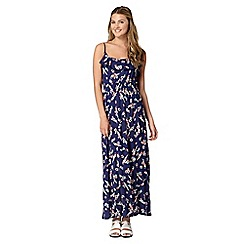 H! by Henry Holland - Designer navy parrot print ruffle maxi dress