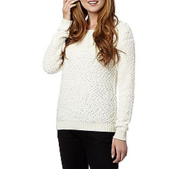 H! by Henry Holland - Designer cream cable pom pom jumper