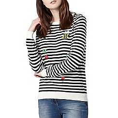 H! by Henry Holland - Designer black striped embroidered jumper
