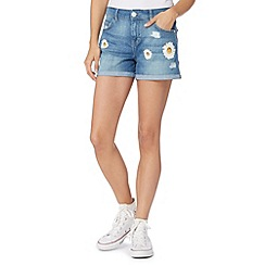 H! by Henry Holland - Designer blue daisy print denim shorts