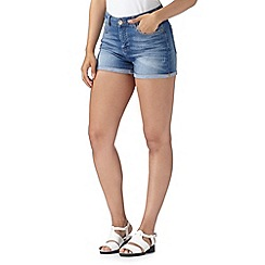 H! by Henry Holland - Designer blue worn denim shorts