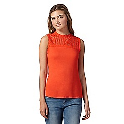 H! by Henry Holland - Designer dark orange lace yoke top