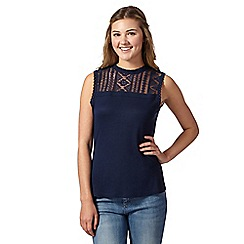 H! by Henry Holland - Designer navy lace yoke top