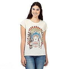 H! by Henry Holland - Designer ivory linen blend festival owl t-shirt