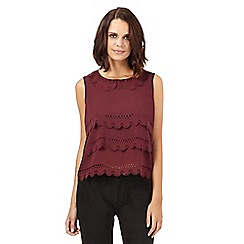 H! by Henry Holland - Dark red cutout scalloped top