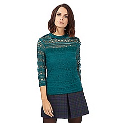H! by Henry Holland - Dark green high neck lace layered top