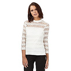 H! by Henry Holland - Ivory high neck lace layered top
