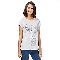 H! by Henry Holland - Grey floral fawn t-shirt