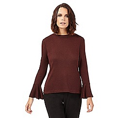 H! by Henry Holland - Dark red ribbed flared sleeve top