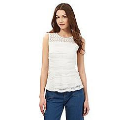 H! by Henry Holland - Ivory white lace peplum top