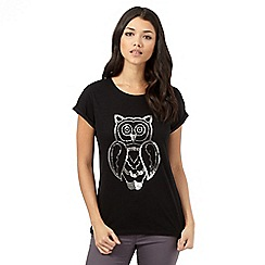 H! by Henry Holland - Black embellished owl t-shirt