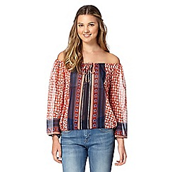 H! by Henry Holland - Designer orange mix and match floral gypsy top