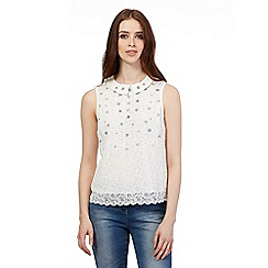 H! by Henry Holland - Ivory embellished lace top
