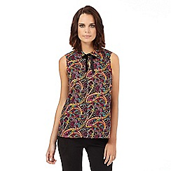 H! by Henry Holland - Pink paisley self tie neck shell top
