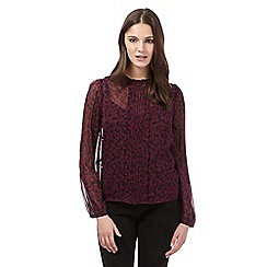 H! by Henry Holland - Dark red floral ruffled blouse