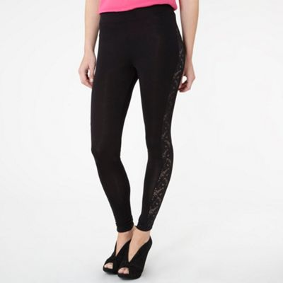 Black Lace Insert Leggings