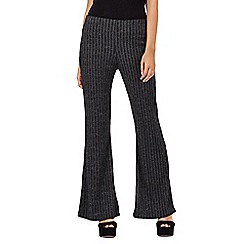 H! by Henry Holland - Grey ribbed kick flare trousers