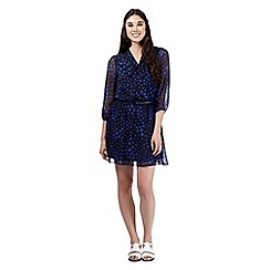 H! by Henry Holland - Designer navy star print belted dress