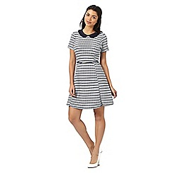 H! by Henry Holland - Designer navy spotted striped peter pan collar dress