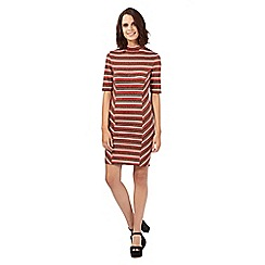 H! by Henry Holland - Orange glitter striped high neck dress