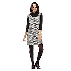H! by Henry Holland - Black ribbed roll neck geometric dress