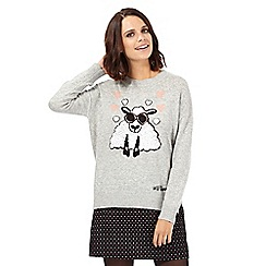 H! by Henry Holland - Grey sheep knit ribbed jumper