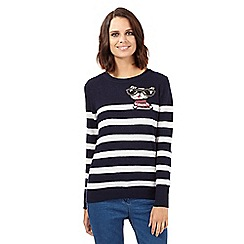 H! by Henry Holland - Navy peeping dog striped jumper