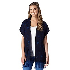 H! by Henry Holland - Designer navy star fringed blanket cardigan
