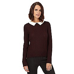 H! by Henry Holland - Dark red knitted collar jumper
