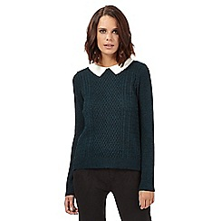 H! by Henry Holland - Dark green knitted collar jumper