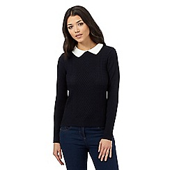 H! by Henry Holland - Navy knitted jumper with contrast collar